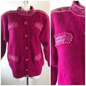 80s Lambswool Angora Beaded Cardigan Sweater